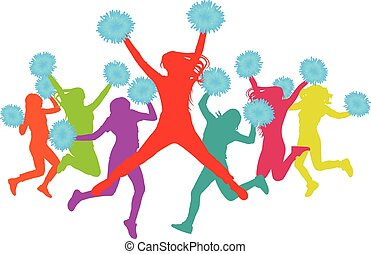 silhuett, (cheerleaders), flickor, colorful., illustration, vektor, pompoms, hoppning