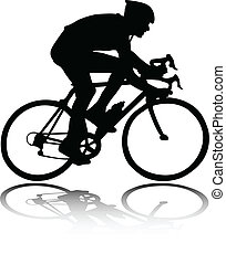 silhuett, cyklist