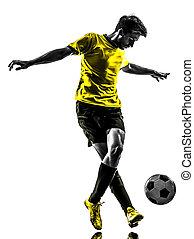 silhuett, dregla, fotboll, ung, spelare, brasiliansk, fotboll, man