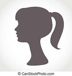 silhuett, enkel, abstrakt, isolerat, ansikte, white., stående, flicka