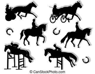 silhuett, equitation