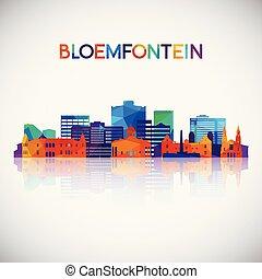 silhuett, färgrik, bloemfontein, horisont, geometrisk, style...