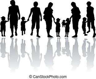 silhuett, -, familj, illustration