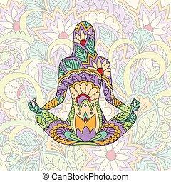 silhuett, flicka, yoga, transparent