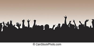 silhuett, folkmassa
