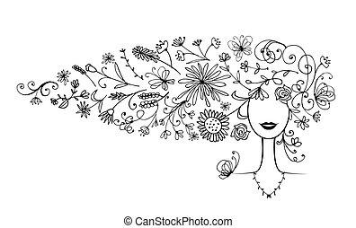silhuett, frisyr, din, blommig, kvinnlig, design