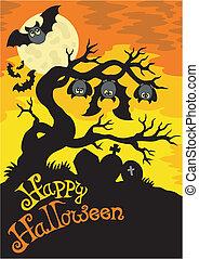 silhuett, halloween, 2, kyrkogård