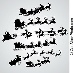 silhuett, illustration, av, flygning, jultomten, och, jul, ren