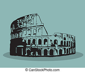 silhuett, illustration., rom, vektor, svart, colosseum