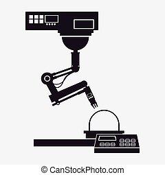 silhuett, industriell robot, arm, arbete