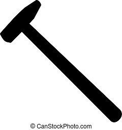 silhuett, isolerat, illustration, vektor, bakgrund, vit, hammare
