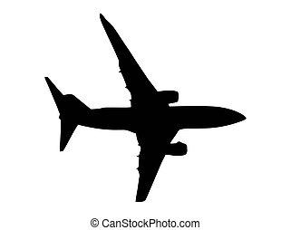 silhuett, jet, isolerat, tvilling, airplane, vit