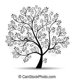 silhuett, konst, träd, vacker, svart
