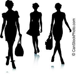 silhuett, kvinna, mode