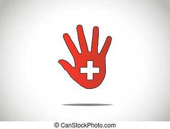 silhuett, läkar symbol, två, hand, mörk, mitt, grön, plus, mänsklig, konst, abstrakt, röd