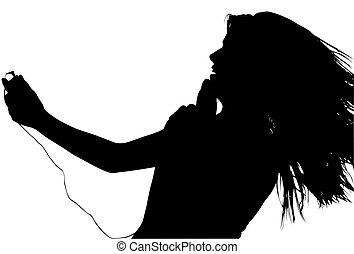 silhuett, med, snabb bana, av, tonåring, med, digital musik spelare