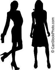 silhuett, mode, flickor