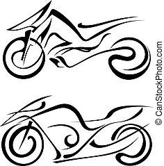 silhuett, motorcycles, två, svart fond, vit