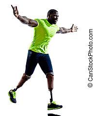 silhuett, muskulös, en, handikappat, protes, bakgrund, vit, ...