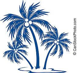silhuett, palmträdar