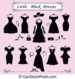 silhuett, parti, svart, litet, mode, dresses.