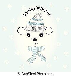 silhuett, söt, liten björn, med, rynkat, mössa, och, scarf.