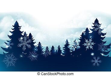 silhuett, scen, träd, snö, bakgrund, jul