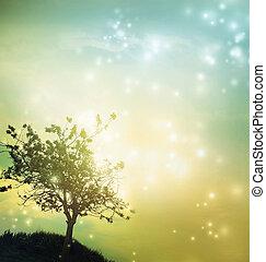 silhuett, skymning, träd