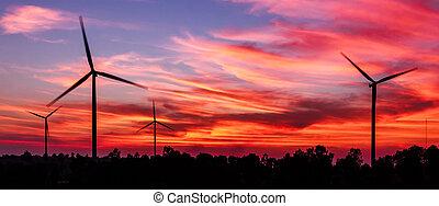 silhuett, slingra turbin, med, skymning, ren energi, begrepp