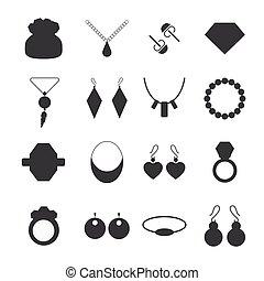silhuett, smycken, tillbehör