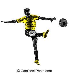 silhuett, spelare, fotboll, ung, sparka, brasiliansk, fotboll, man