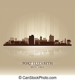 silhuett, stad, elizabeth, afrika, syd, hamn, horisont