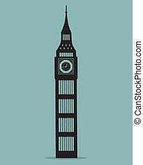 silhuett, stor, illustration, vektor, london, ben, svart