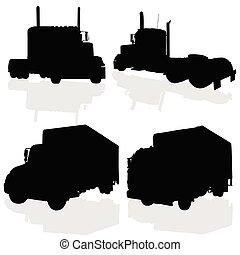 silhuett, svart, lastbil