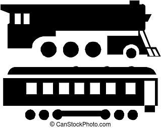 silhuett, tåg