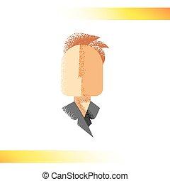 silhuett, tecken, retro, ansiktslös, icon., manlig, skugga, struktur
