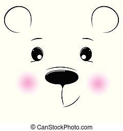 silhuett, tecknad film, ansikte, björn, på, a, vit fond