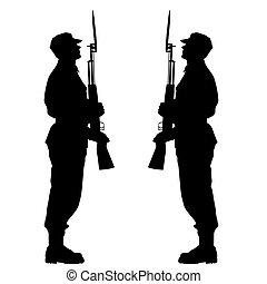 silhuett, tjäna som soldat, under, a, militär, parade., vektor, illustration.
