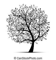 silhuett, träd, vacker, design, konst, din, svart