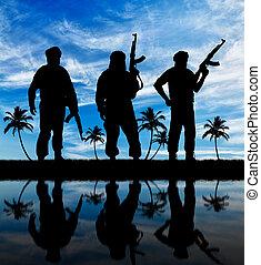 silhuett, tre, terrorister
