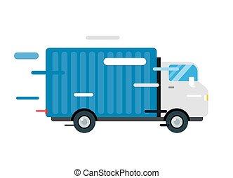 silhuett, truck., skåpbil, service