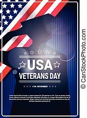 silhuett, usa, veterer, över, amerikan, dag, soldat, flagga,...