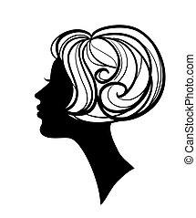 silhuett, vacker, frisyr, kvinna, stilig