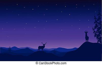 silhuett, vektor, hjort, jul