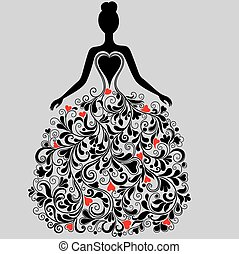 silhuett, vektor, klänning, elegant