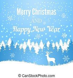 silhuett, vinter, hjort, skog, bakgrund, jul