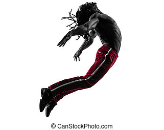 silhuett, zumba, dansande, afrikansk, exercerande, fitness, man