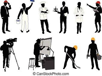 silhuetter, adskillige, samling, professioner