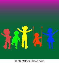 silhuetter, børn, liden, retro