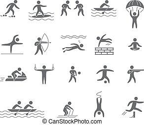 silhuetter, beregner, i, atleter